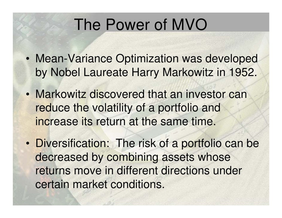mean variance optimization Use the portfolio function to create a portfolio object for mean-variance portfolio optimization.
