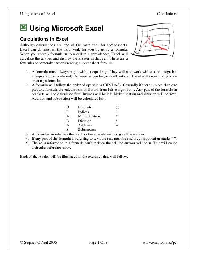 Using Microsoft Excel                                                                     Calculations      Using Microsof...