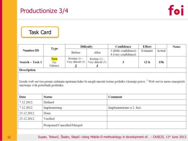 Productionize 3/4 Supan, Teković, Škalec, Stapić: Using Mobile-D methodology in development of… - CASE25, 11th June 201312...