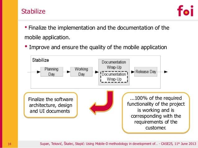 Supan, Teković, Škalec, Stapić: Using Mobile-D methodology in development of… - CASE25, 11th June 2013 Stabilize 14 • Fina...