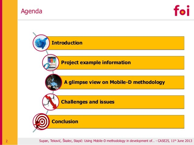 Agenda Supan, Teković, Škalec, Stapić: Using Mobile-D methodology in development of… - CASE25, 11th June 20132 Introductio...