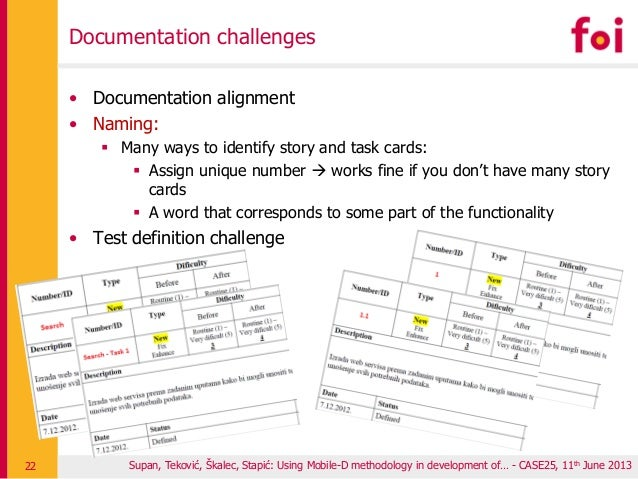 Documentation challenges • Documentation alignment • Naming:  Many ways to identify story and task cards:  Assign unique...