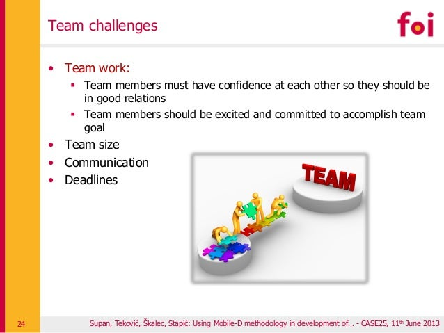 Team challenges • Team work:  Team members must have confidence at each other so they should be in good relations  Team ...