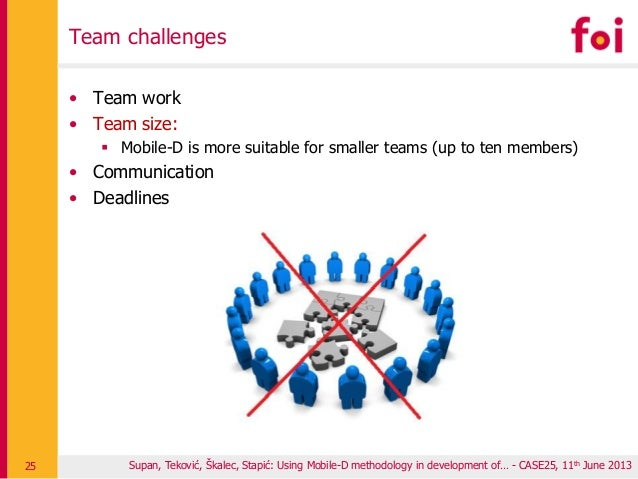 Team challenges • Team work • Team size:  Mobile-D is more suitable for smaller teams (up to ten members) • Communication...