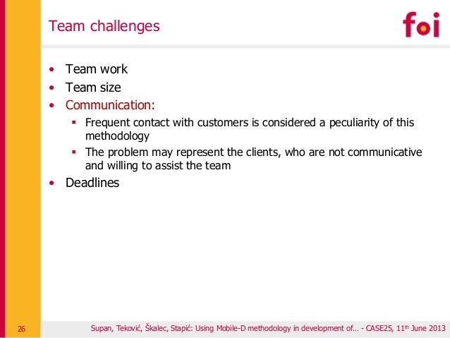 Team challenges • Team work • Team size • Communication:  Frequent contact with customers is considered a peculiarity of ...