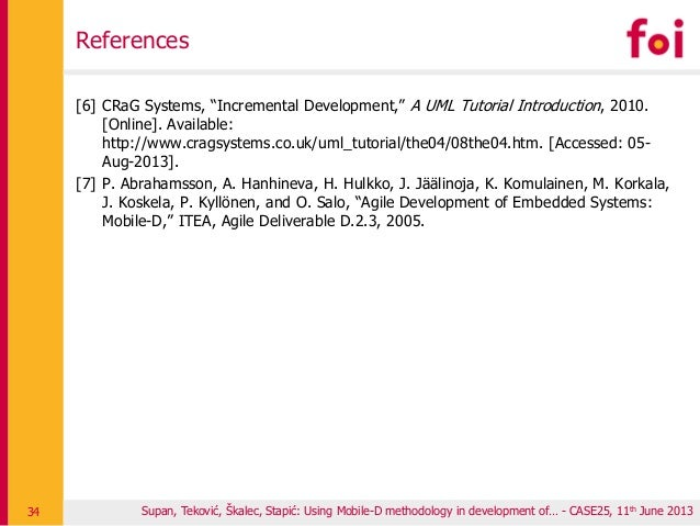 """[6] CRaG Systems, """"Incremental Development,"""" A UML Tutorial Introduction, 2010. [Online]. Available: http://www.cragsystem..."""
