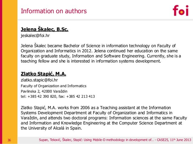 Information on authors Jelena Škalec, B.Sc. jeskalec@foi.hr Jelena Škalec became Bachelor of Science in information techno...