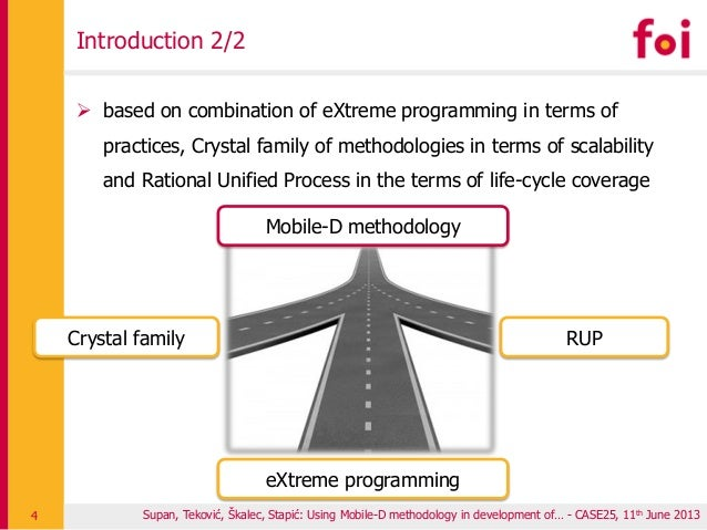 Introduction 2/2  based on combination of eXtreme programming in terms of practices, Crystal family of methodologies in t...