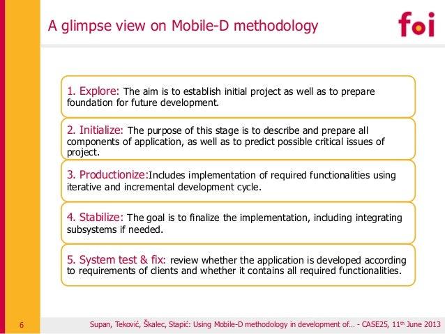 Supan, Teković, Škalec, Stapić: Using Mobile-D methodology in development of… - CASE25, 11th June 2013 A glimpse view on M...