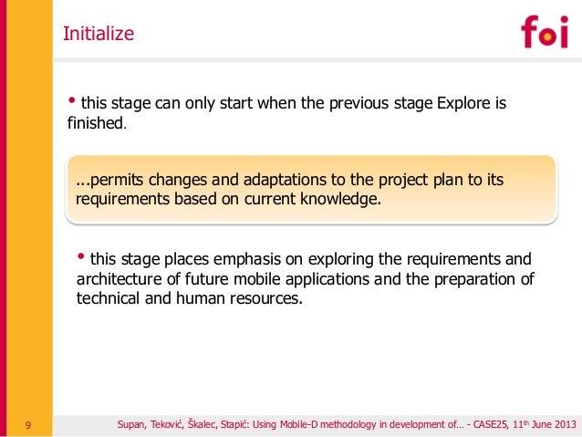 Supan, Teković, Škalec, Stapić: Using Mobile-D methodology in development of… - CASE25, 11th June 2013 Initialize 9 • this...