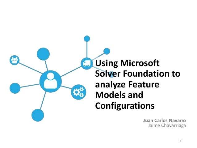 Juan Carlos Navarro Jaime Chavarriaga Using Microsoft Solver Foundation to analyze Feature Models and Configurations 1