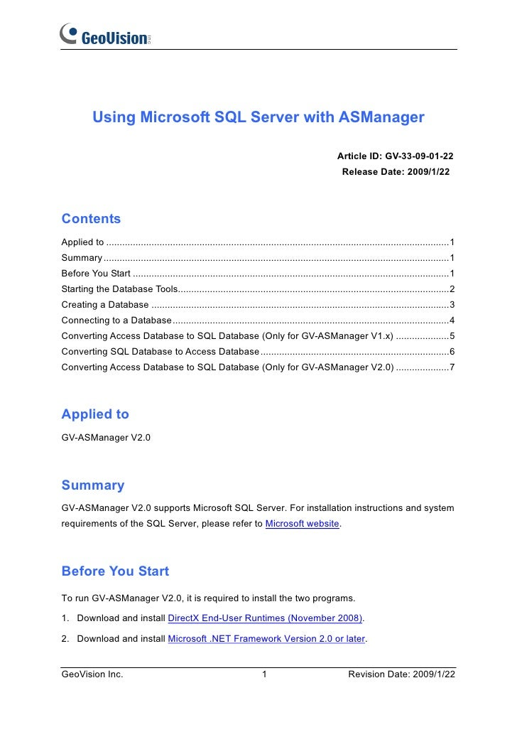 Using Microsoft SQL Server with ASManager                                                                                 ...