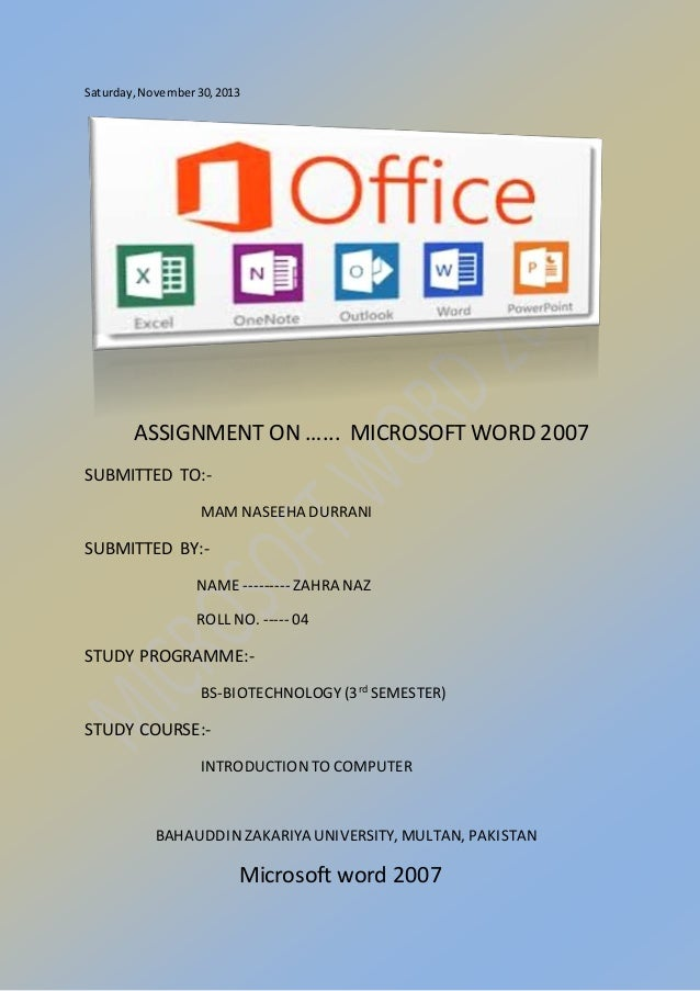 ms word assignment