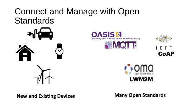 Connect and Manage with Open Standards New and Existing Devices CoAP LWM2M Many Open Standards