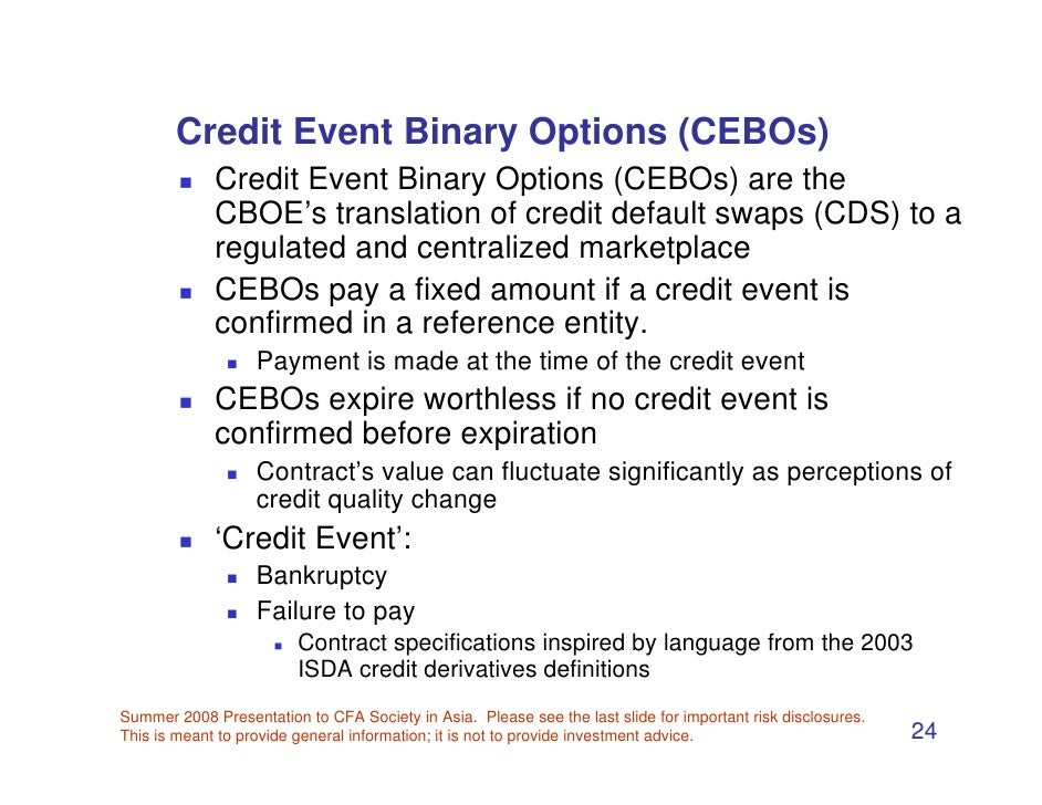 Cboe launches credit event binary options