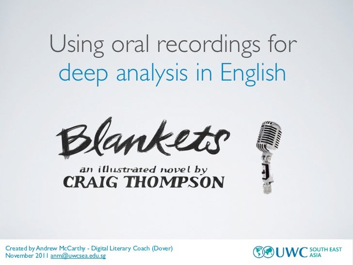 Using oral recordings for                deep analysis in EnglishCreated by Andrew McCarthy - Digital Literary Coach (Dove...