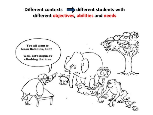 Different contexts different students with different objectives, abilities and needs