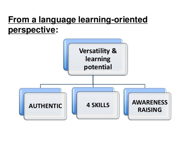 From a language learning-oriented perspective: Versatility & learning potential AUTHENTIC 4 SKILLS AWARENESS RAISING
