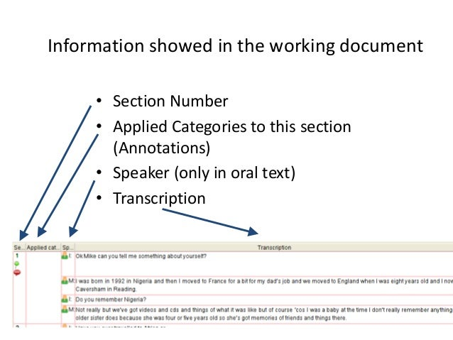 62 Information showed in the working document • Section Number • Applied Categories to this section (Annotations) • Speake...