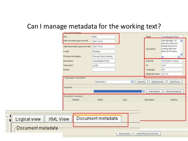 75 Can I manage metadata for the working text?