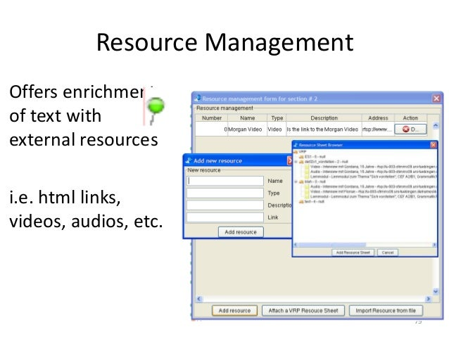 79 Resource Management Offers enrichment of text with external resources i.e. html links, videos, audios, etc.