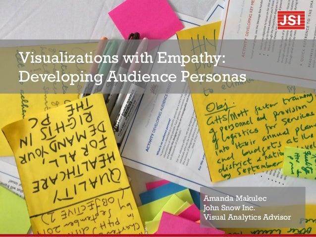 Visualizations with Empathy: Developing Audience Personas Amanda Makulec John Snow Inc. Visual Analytics Advisor
