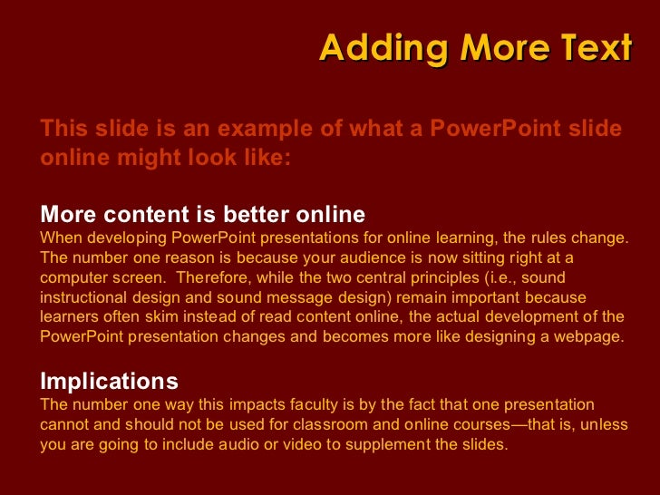 Using PowerPoint Differently When Teaching Online