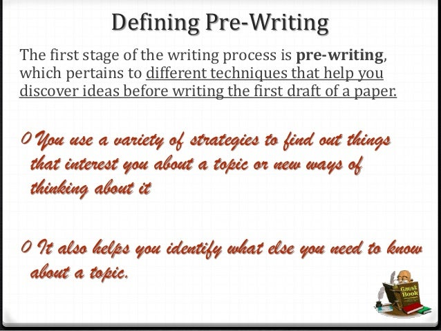 describe your pre writing strategy for the essay We use the term prewriting to refer to the work you do on your essay before you actually begin writing a draft of it this page presents a few common prewriting strategies that can be helpful in getting you started on an essay.