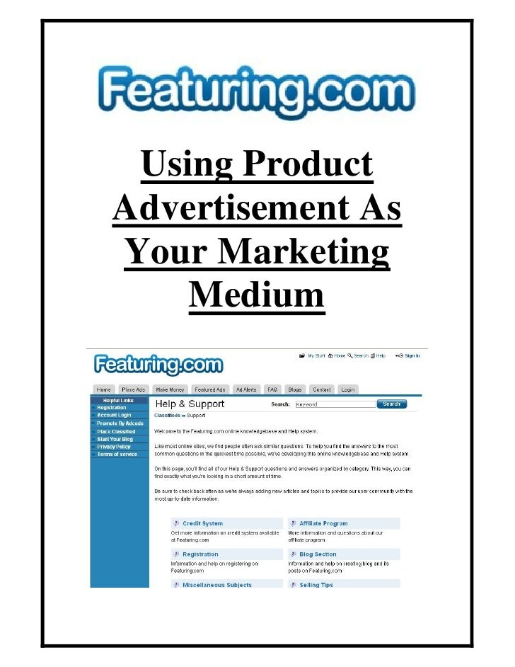 Using Product Advertisement As Your Marketing     Medium