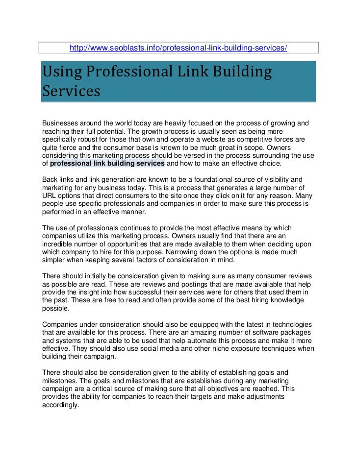 http://www.seoblasts.info/professional-link-building-services/Using Professional Link BuildingServicesBusinesses around th...