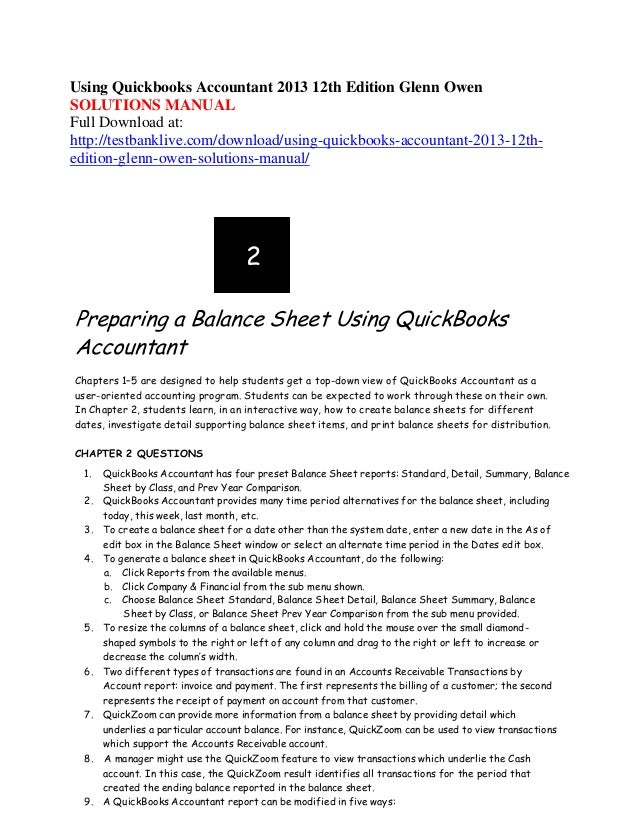 Using quickbooks accountant 2013 12th edition glenn owen
