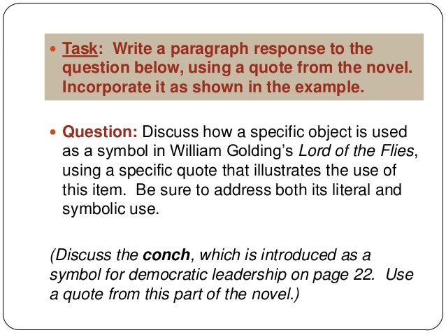 concluding sentence for lord of the flies essay Starting an essay on william golding's lord of the flies organize your thoughts and more at our handy-dandy shmoop writing lab.
