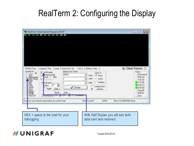 Communication to Unigraf DPR-100 with RealTerm