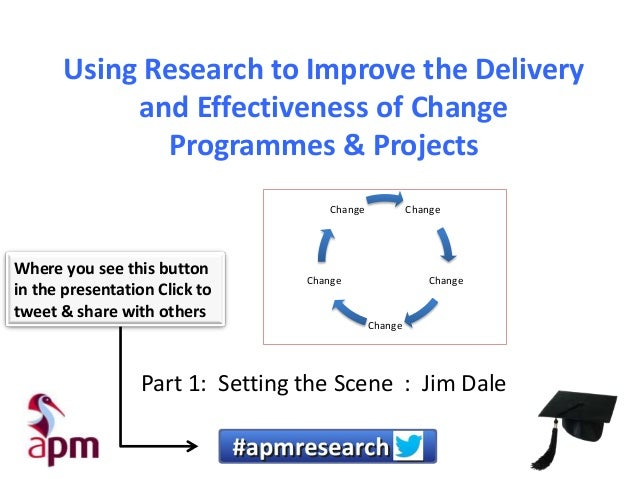 Using Research to Improve the Delivery and Effectiveness of Change Programmes & Projects Change  Where you see this button...