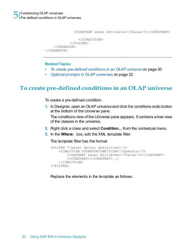 Using sap bw in universe designer