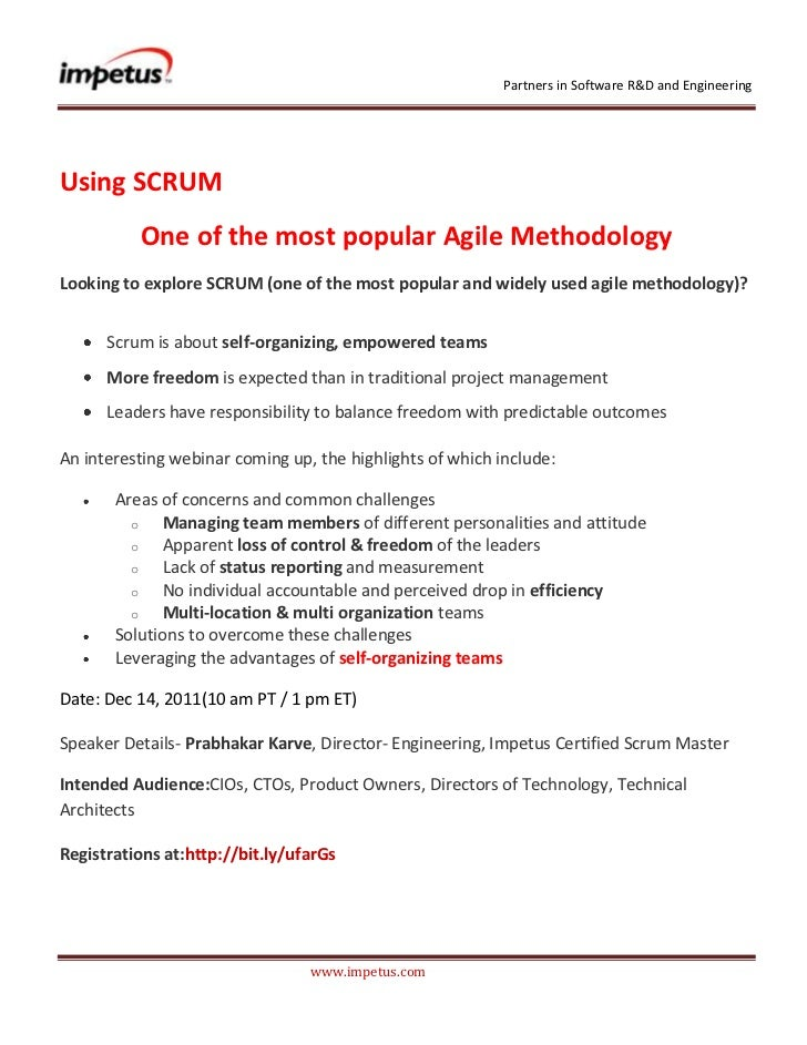 Partners in Software R&D and EngineeringUsing SCRUM          One of the most popular Agile MethodologyLooking to explore S...