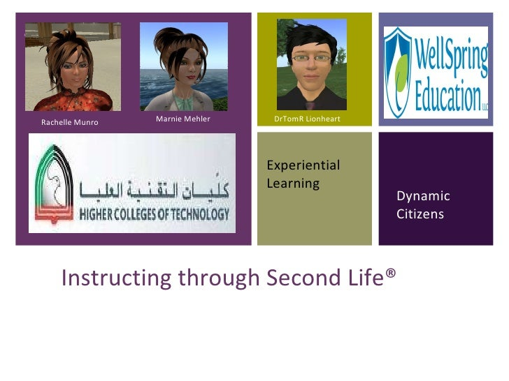 Instructing through Second Life® Experiential Learning Dynamic Citizens Rachelle Munro Marnie Mehler DrTomR Lionheart