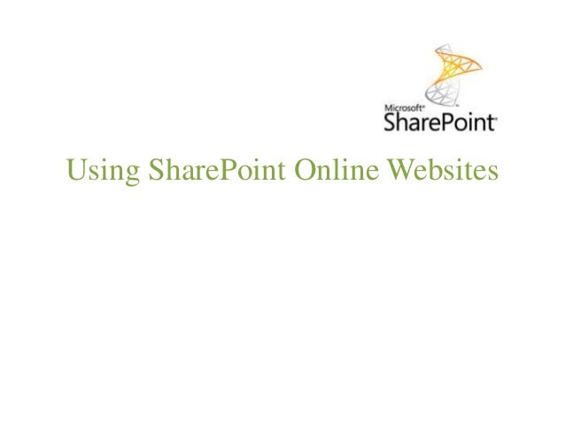 Using SharePoint Online Websites