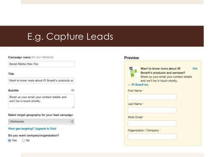 E.g. Capture Leads