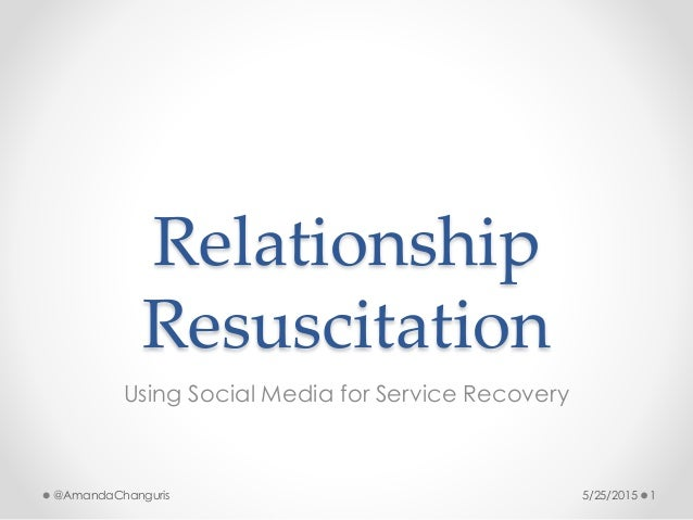 Relationship Resuscitation Using Social Media for Service Recovery 5/25/2015 1@AmandaChanguris