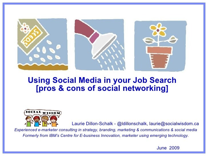 How to use social media in job search Laurie Dillon-Schalk, owner & chief social strategist, Social Wisdom Social Wisdom i...