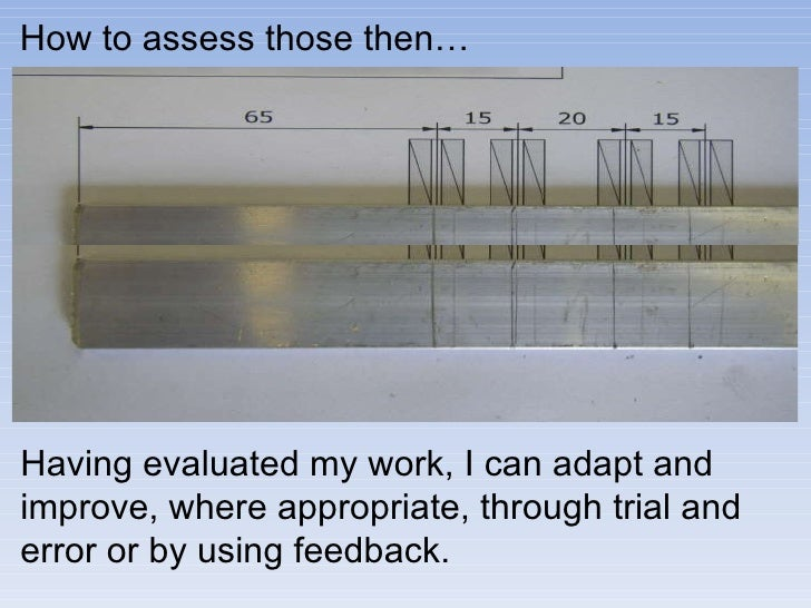 How to assess those then… Having evaluated my work, I can adapt and improve, where appropriate, through trial and error or...