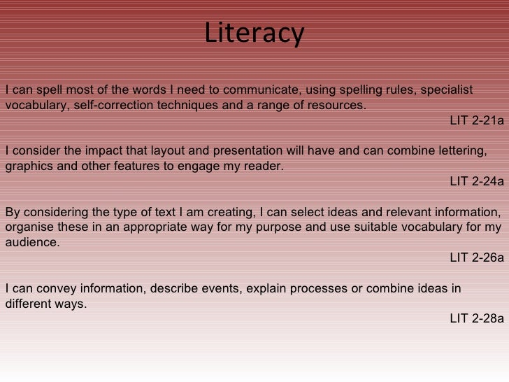 Literacy I can spell most of the words I need to communicate, using spelling rules, specialist vocabulary, self-correction...