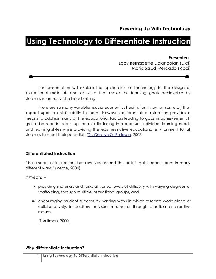 Powering Up With Technology  Using Technology to Differentiate Instruction                                                ...