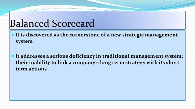 linking the balanced scorecard to strategy essay Every measure selected should be part of a link of cause-and-effect relationships that culminate in improving financial performance the scorecard should tell the story of the strategy.