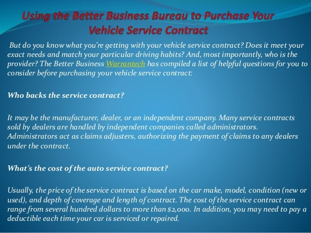 Using The Better Business Bureau To Purchase Your Vehicle Service Con