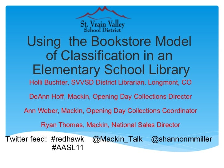 Using the Bookstore Model of Classification in an Elementary School Library Holli Buchter, SVVSD District Librarian, Lo...