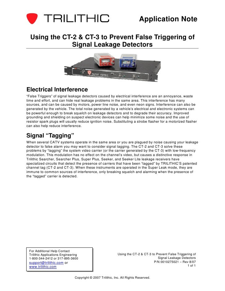 Application Note  Using the CT-2 & CT-3 to Prevent False Triggering of               Signal Leakage DetectorsElectrical In...
