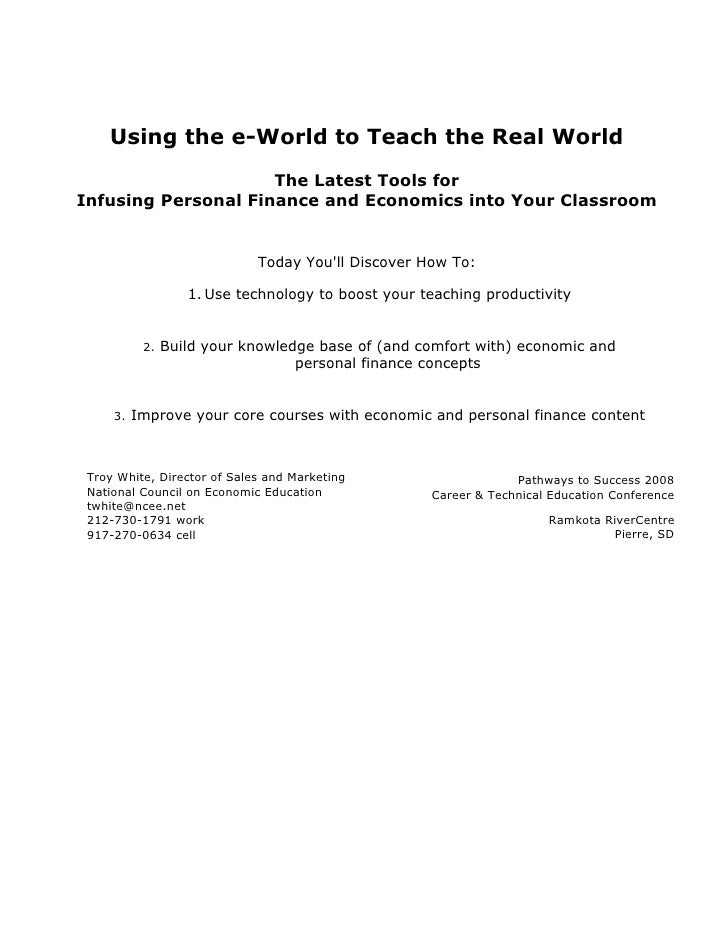 Using the e-World to Teach the Real World                     The Latest Tools forInfusing Personal Finance and Economics ...