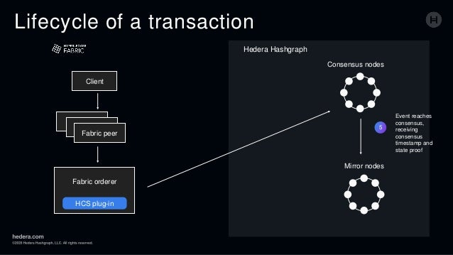 Lifecycle of a transaction 5 Event reaches consensus, receiving consensus timestamp and state proof Client Fabric peer Fab...